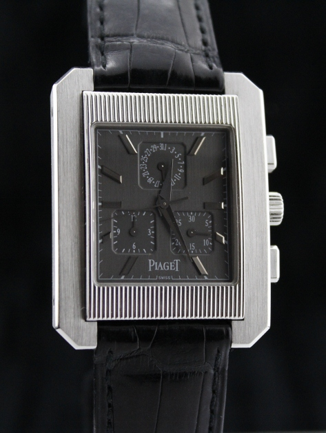 A PIAGET 18K WHITE GOLD CHRONOGRAPH WATCH / CERT 2009