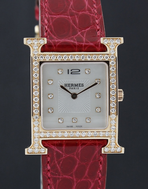 NEW UNWORN HERMES 18K PINK GOLD DIAMOND WATCH