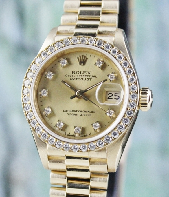 100% ORIGINAL ROLEX LADY SIZE 18K YELLOW GOLD OYSTER PERPETUAL DATEJUST - 69138