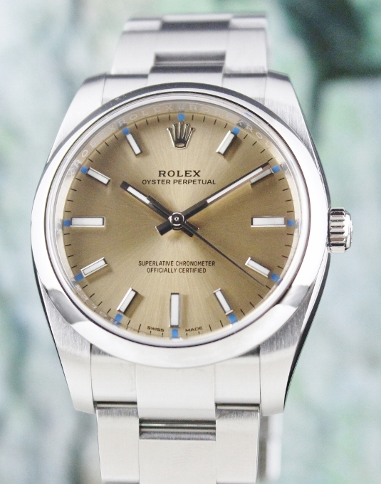 UNPOLISHED ROLEX MEN SIZE STAINLESS STEEL OYSTER PERPETUAL / 114200