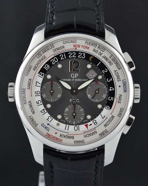 Like New Girard Perregaux World Timer WW TC Silver Dial Chronograph Automatic Watch / 49805