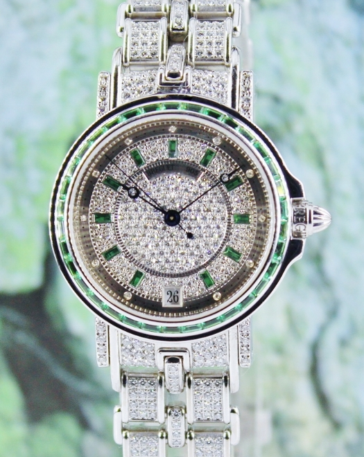 BREGUET 32MM MARINE AUTOMATIC 18K WHITE GOLD DIAMOND WATCH / BB4404