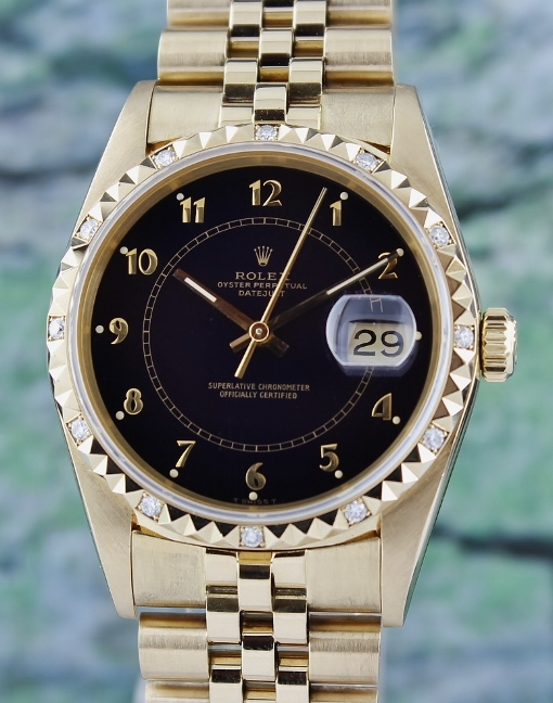 RARE FIND 100% ORIGINAL ROLEX 18K YELLOW GOLD OYSTER PERPETUAL DATEJUST / 16058
