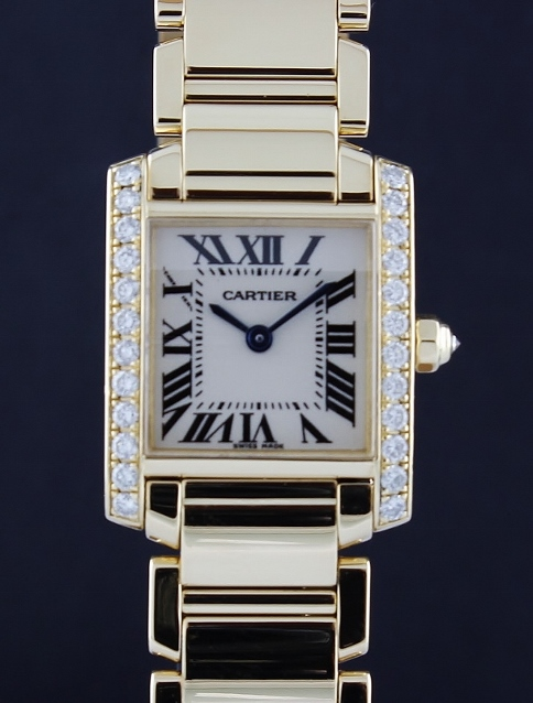 A 18K CARTIER YELLOW GOLD TANK FRANCAISE LADY WATCH / 2385
