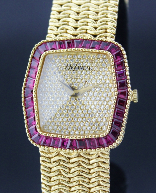 100% ORIGINAL 18K SOLID GOLD DELANEAU DIAMOND RUBY WATCH