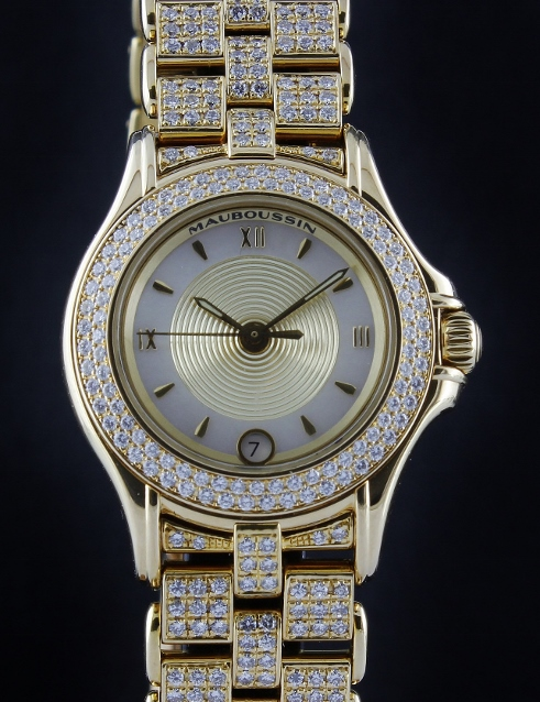 MAUBOUSSIN 18K YELLOW GOLD AUTOMATIC DIAMOND WATCH