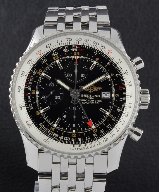 A Stainless Steel Breitling Navitimer World Chronograph GMT / 24322