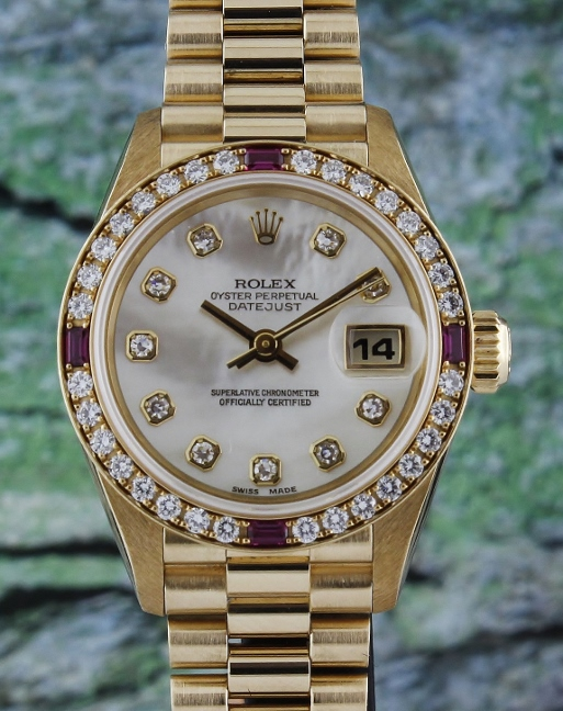 100% ORIGINAL ROLEX LADY 18K YELLOW GOLD OYSTER PERPETUAL DATEJUST - 69068 / MOP