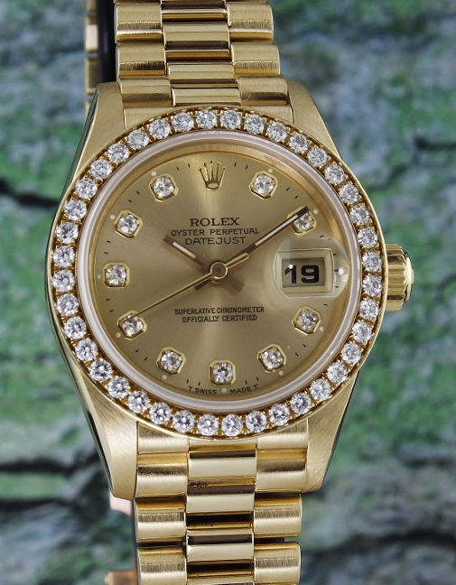 100% ORIGINAL ROLEX LADY 18K YELLOW GOLD OYSTER PERPETUAL DATEJUST - 69138