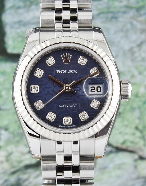 LIKE NEW UNPOLISHED ROLEX LADY OYSTER PERPETUAL DATEJUST - 179174 / CERT