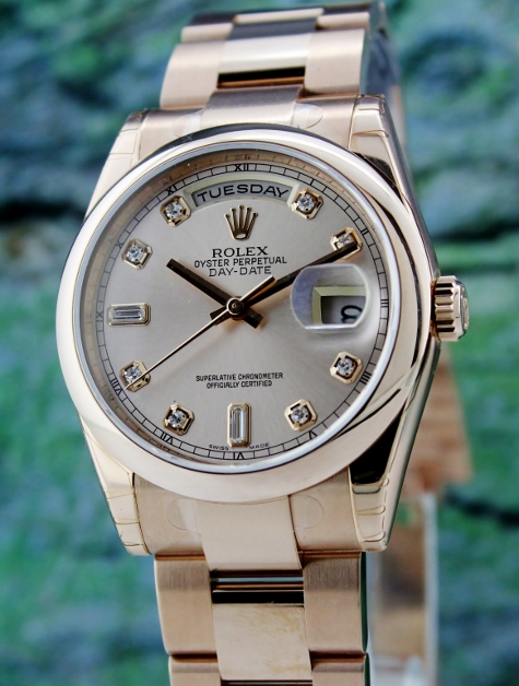 ROLEX 18K ROSE GOLD OYSTER PERPETUAL DAY-DATE - 118205F