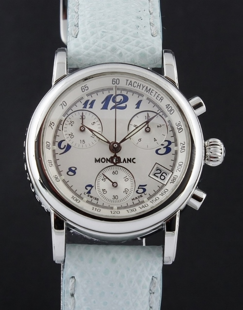 MONT BLANC STAINLESS STEEL LADY SIZE CHRONOGRAPH WATCH
