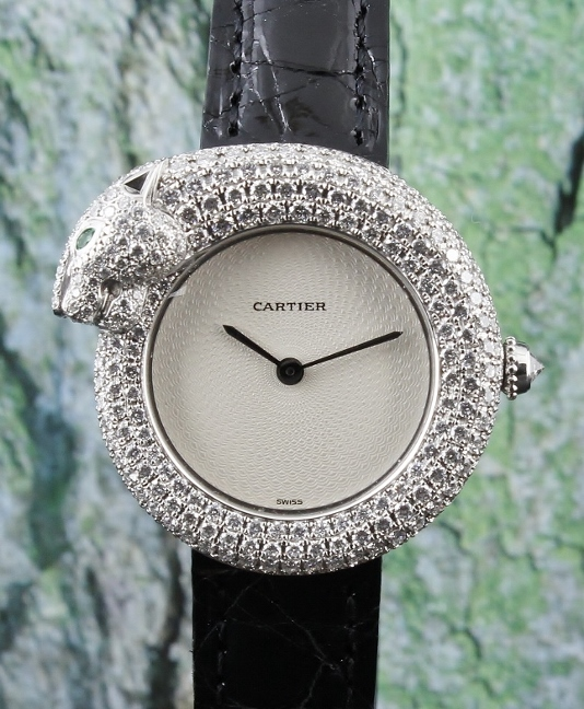FINE AND RARE 100% ORIGINAL CARTIER 18K WHITE GOLD DIAMOND WATCH