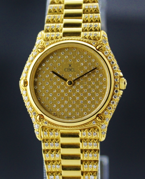 AN EBEL LADY 18K SOLID YELLOW GOLD DIAMOND WATCH