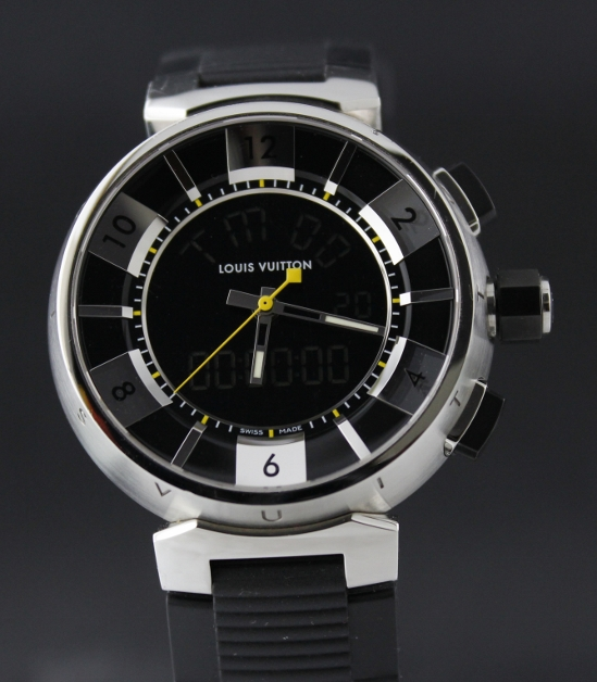 LIKE NEW LOUIS VUITTON TAMBOUR DIGITAL ANALOGIC WATCH