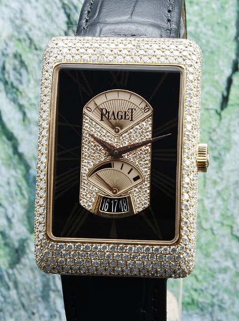 100% Original PIAGET 18K Pink Gold Retrograde Diamond Watch