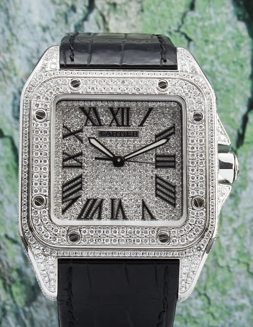 Cartier Santos 100XL Full Diamond Stainless Steel Automatic / 2656