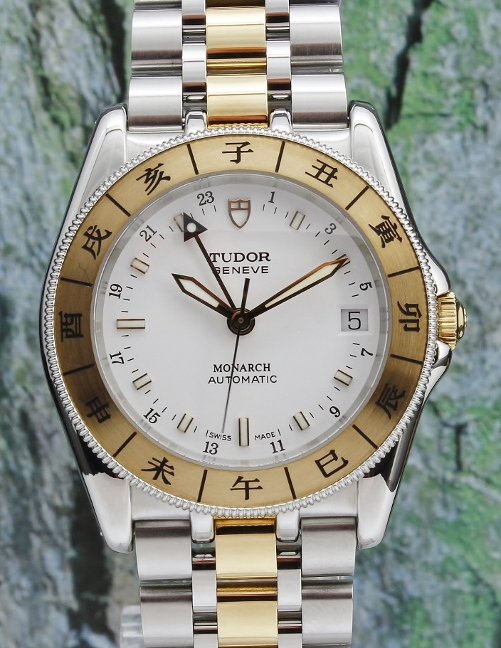 LIKE NEW UNPOLISHED STAINLESS STEEL & 18K YELLOW GOLD AUTOMATIC MONARCH / 38083