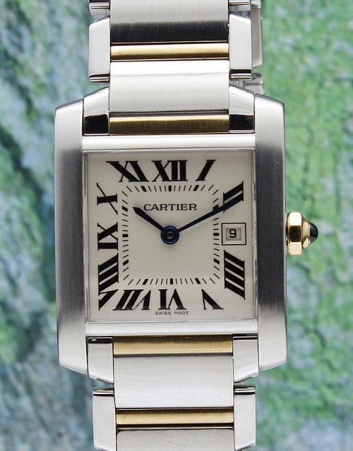 CARTIER MID SIZE 18K YELLOW GOLD TANK AND STEEL FRANCAIS / 2465
