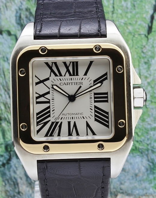 "Cartier ""Large Size"" Santos 100XL Steel & Gold Automatic Watch / 2656"