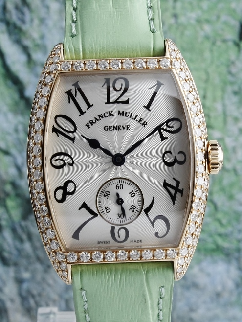 A 100% ORIGINAL FRANCK MULLER MANUAL WINDING 18K PINK GOLD DIAMOND WATCH / 7500 S6 D
