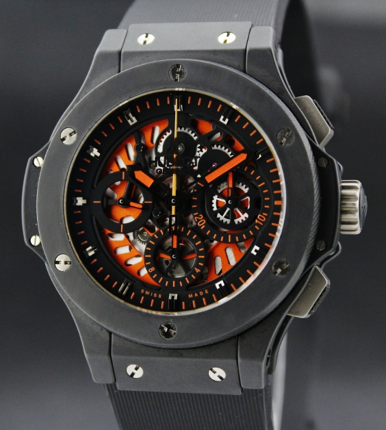 "A HUBLOT LIMITED EDITION ALL BLACK AERO BANG ""ORANGE"" / COMPLETE"