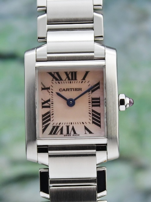 A CARTIER LADY SIZE STAINLESS STEEL TANK FRANCAIS / MOP