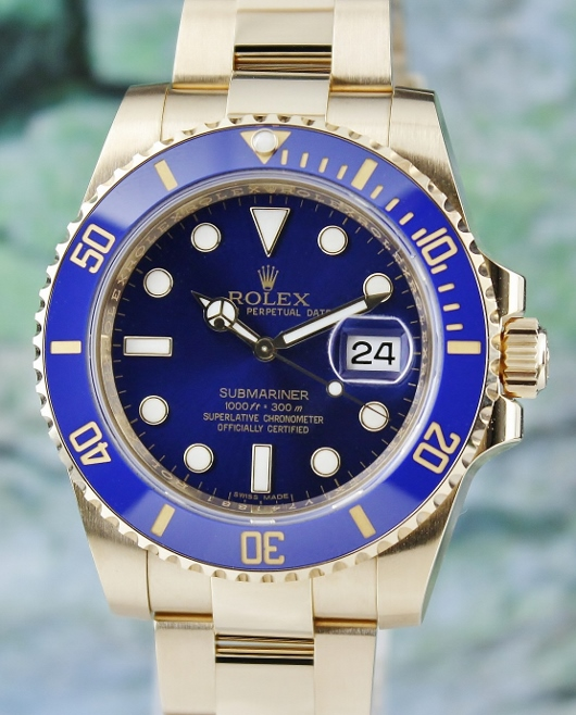 LIKE NEW ROLEX 18K YELLOW GOLD SUBMARINER DATE - 116618 LB