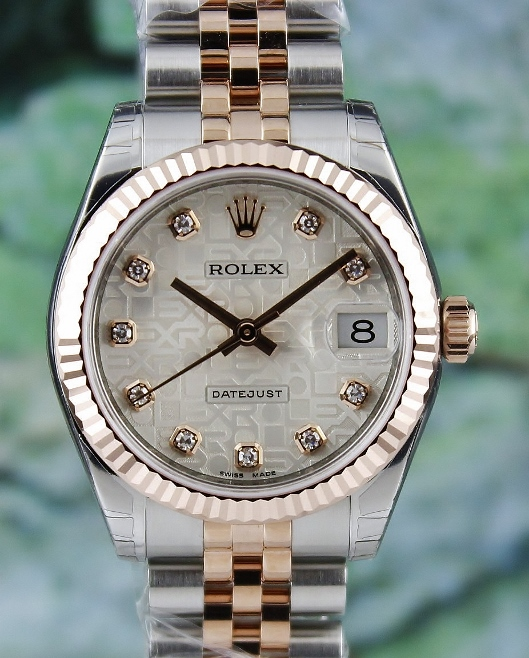 UNWORN ROLEX MID SIZE 18K PINK GOLD OYSTER PERPETUAL DATEJUST / 178271