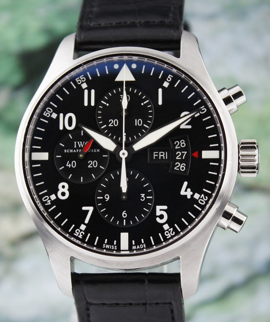 Unpolished IWC Pilot's Automatic Chronograph Watch / Ref: 3777-01