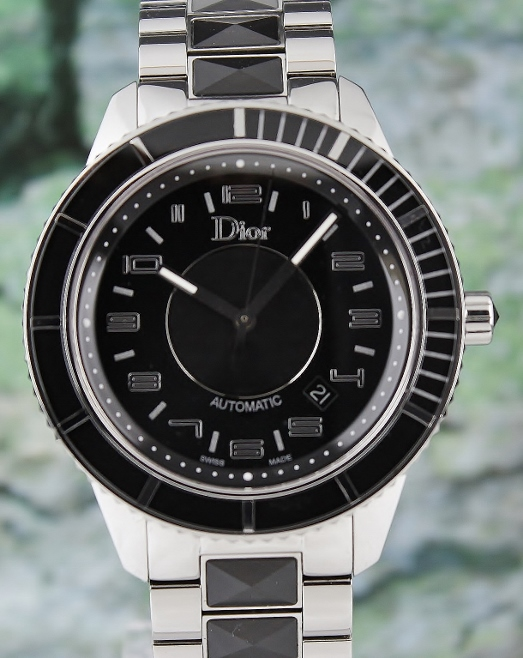 A CHRISTIAN DIOR AUTOMATIC STEEL & CERAMIC WATCH / CD115510