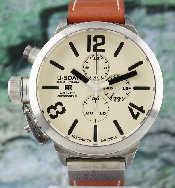 U-BOAT CLASSICO 53MM STERLING SILVER CHRONOGRAPH WATCH / LIMITED EDITION 1000 PIECES
