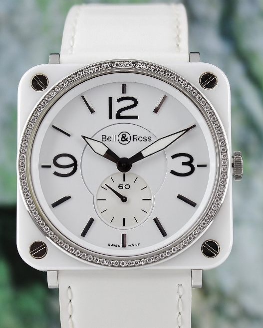 A Bell & Ross Aviation Diamond White Ceramic Watch / BRS-98-WCS