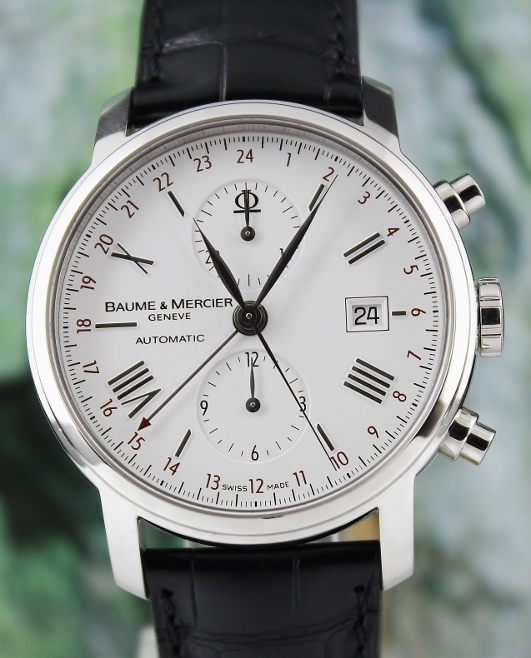 A BAUME & MERCIER STAINLESS STEEL AUTOMATIC WATCH