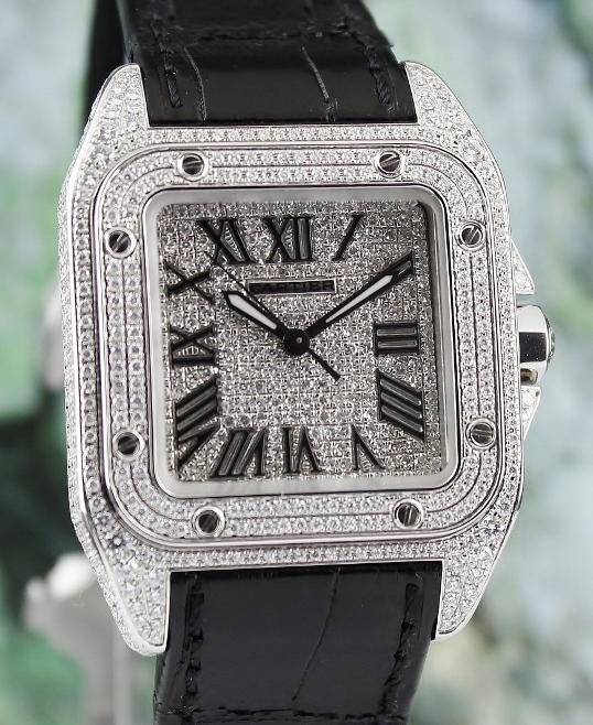 Cartier Santos 100 Medium Size Full Diamond Stainless Steel Automatic / 2878