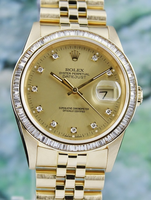 RARE FIND ROLEX 18K MEN SIZE YELLOW GOLD OYSTER PERPETUAL DATEJUST / 16238