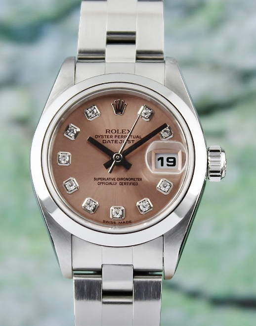 A ROLEX LADY SIZE STAINLESS STEEL OYSTER PERPETUAL DATEJUST