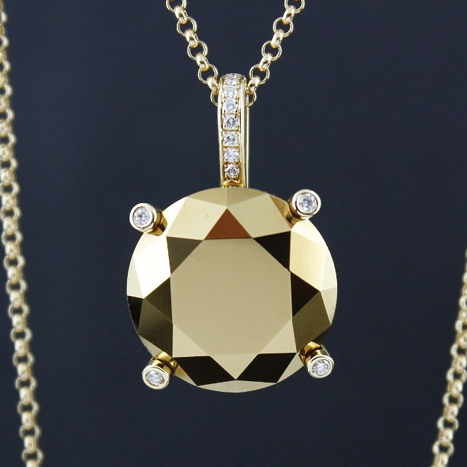 UNWORN CHOPARD 18K YELLOW GOLD CHAIN AND TITAN TREATED GOLDEN DIAMOND PENDENT / 794575-0001