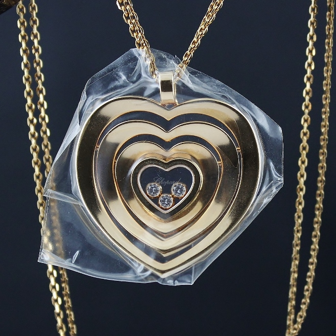 UNWORN CHOPARD 18K ROSE GOLD CHAIN AND CUORE PENDANT 3 DIAMONDS / 797221-5001