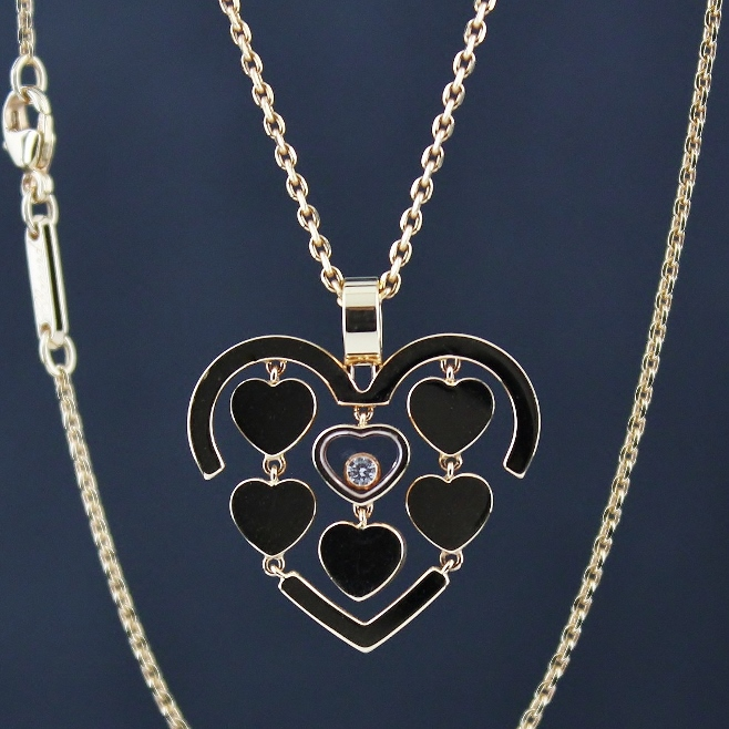 UNWORN CHOPARD 18K ROSE GOLD CHAIN AND HAPPY AMORE PENDANT / 797219-5001