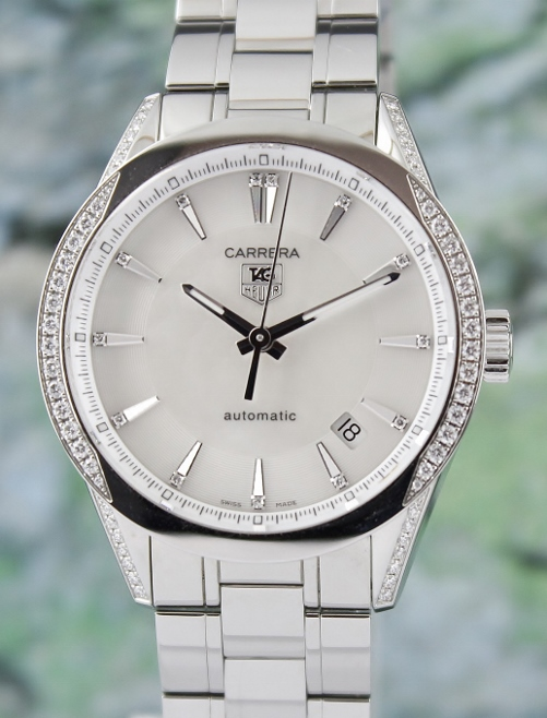 LIKE NEW UNPOLISHED Tag Heuer Carrera Mother of Pearl Diamond Automatic Watch / WV2212