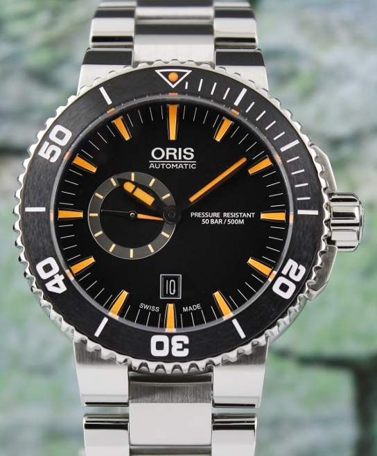 NEW UNWORN ORIS AQUIS DATE CERAMIC BEZEL DIVER WATCH / 0174376734159