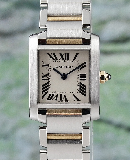 CARTIER LADY SIZE STEEL AND 18K YELLOW GOLD TANK FRANCAIS / 2300