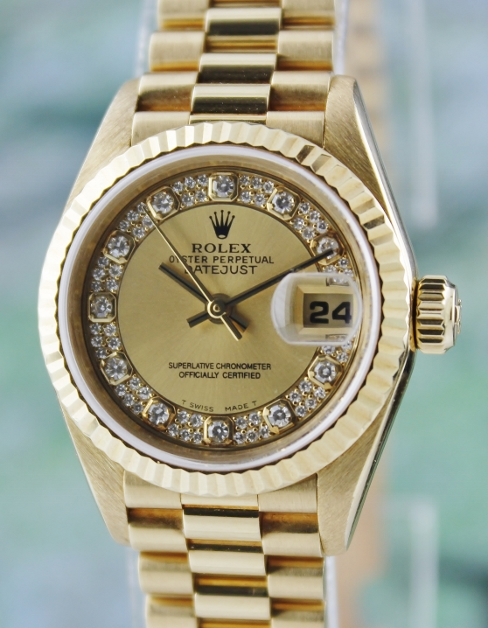 A ROLEX LADY 18K GOLD OYSTER PERPETUAL DATEJUST - 100% ORIGINAL
