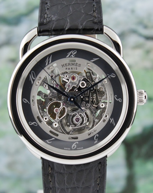 Hermes Arceau Stainless Steel Automatic Skeleton Watch / AR6.710A