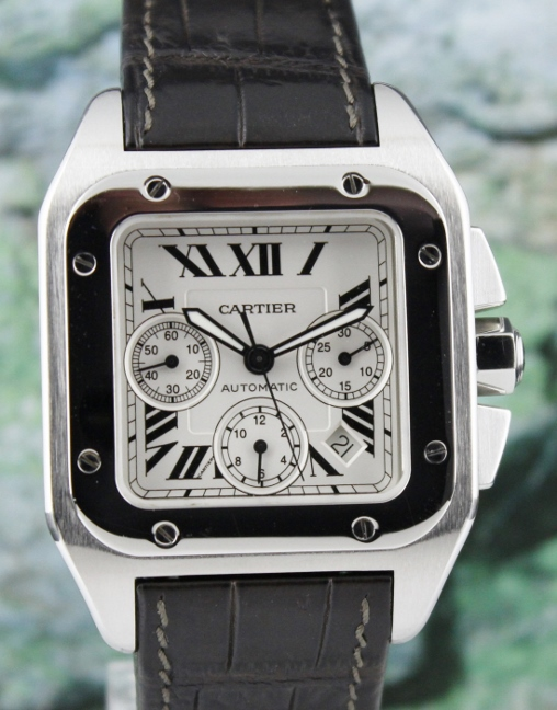 Like New Cartier Santos 100 XL Stainless Steel Chronograph Watch / 2740