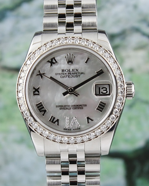 A ROLEX MID SIZE STAINLESS STEEL & 18K WHITE GOLD OYSTER PERPETUAL DATEJUST / 178384