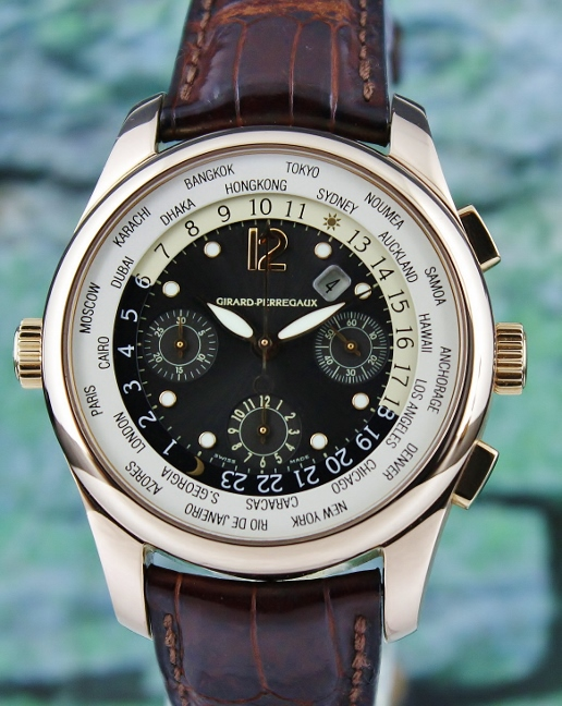Girard Perregaux World Timer WW TC 18K Rose Gold Chronograph Automatic Watch / 4980