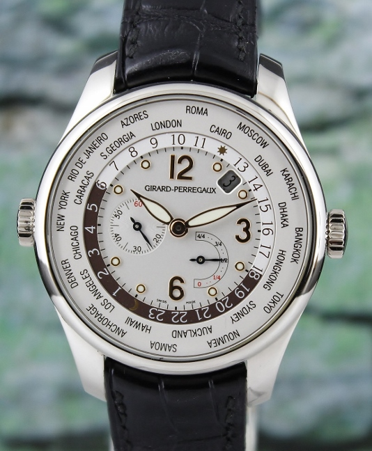 GIRARD PERREGAUX 18K WHITE GOLD WORLD TIME POWER RESERVE / 49851