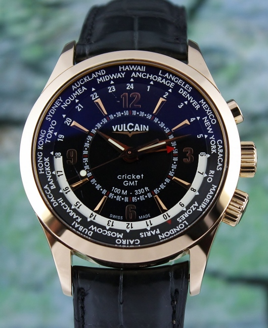 VULCAIN 18K ROSE GOLD 42MM CRICKET GMT ALARM AUTOMATIC WATCH / 100508.029